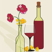 Vector background with wine bottles and flowers. — Stock Vector