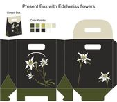 Present box with edelweiss flowers — Stock Vector