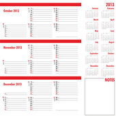 Vector planner for 2013 -Three month calendar — Stock Vector