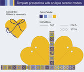 Template present box in heart shape with azulejos ceramic models — Stok Vektör