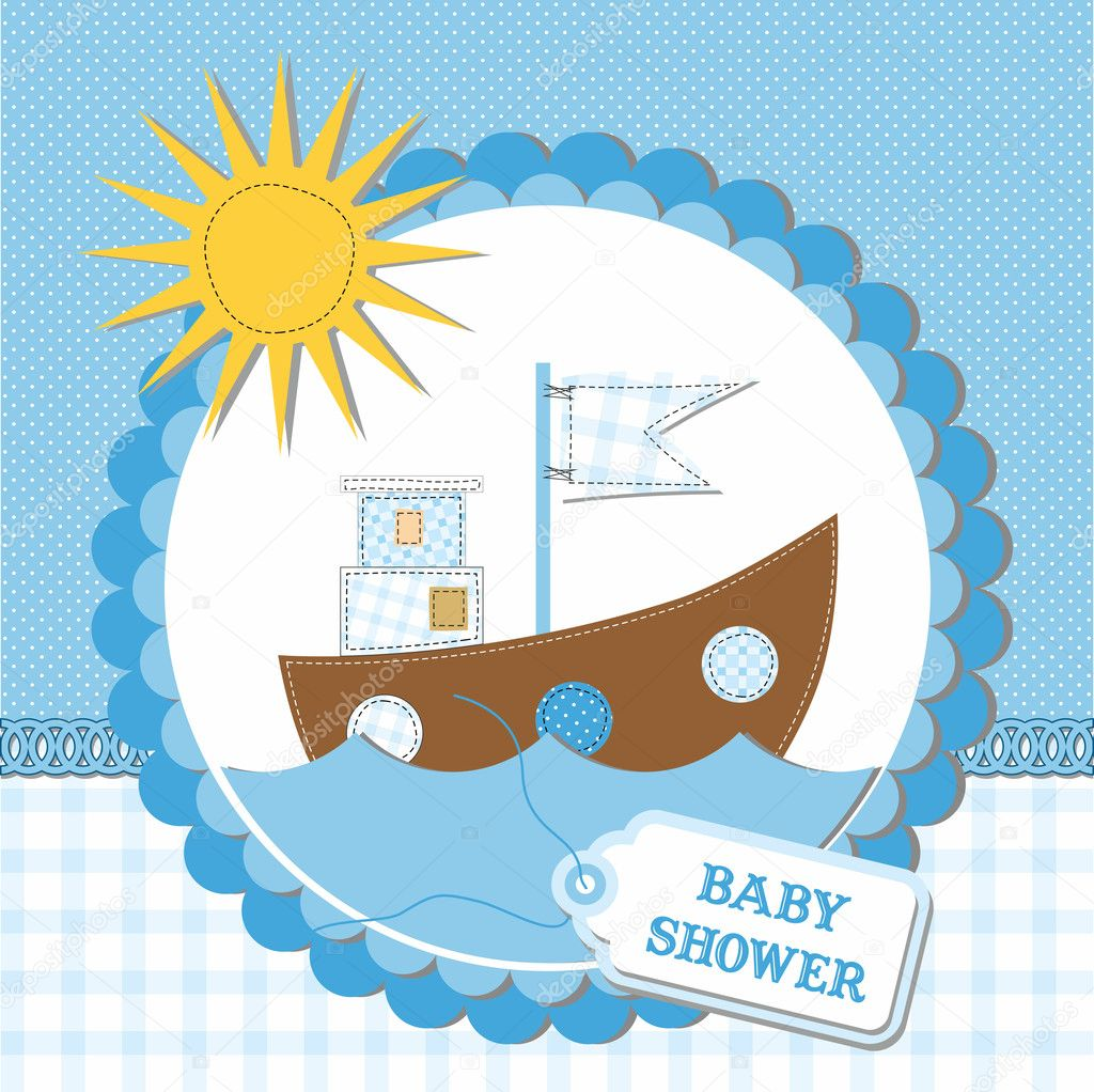 Baby boy arrival card vector by leonart image 600444 vectorstock - Baby Shower Card Design Vector Illustration Stock Wallpaper Gallery Baby Boy Shower Card