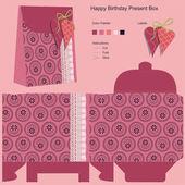 Happy Birthday Gift Box Template — Stock Vector