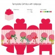 Template gift box with lollipops — Stock Vector