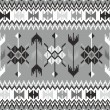 Seamless ethnic pattern background in black and white - 图库矢量图片