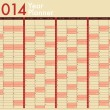 Stock Vector: 2014 Calendar. Year Planner. Week starts on Sunday