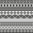Stock Vector: Tribal seamless pattern - aztec black and white background