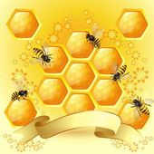 Fond avec des abeilles et nid d'abeille — Vecteur