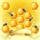 Sfondo con api e a nido d'ape — Vettoriale Stock