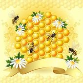 Tło z pszczoły, plaster miodu i piękne kwiaty — Wektor stockowy