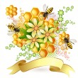 Background with bees and honeycomb — Stock Vector #12865426