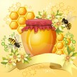 Background with bees and honey jar — Stock Vector