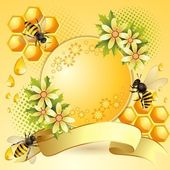 Background with bees and honeycomb — Stockvector
