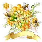Fondo con las abejas y del panal — Vector de stock