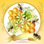 Hintergrund mit bienen und waben — Stockvektor
