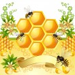 Background with bees and honeycomb — Stock Vector