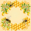Royalty-Free Stock Vector Image: Background with bees, honeycomb and beautiful flowers
