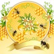 Background with bees and honeycomb — Stock Vector #12892581