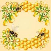 Fondo con abejas, nido de abeja y flores hermosas — Vector de stock
