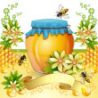Stock Vector: Background with bees and honey jar