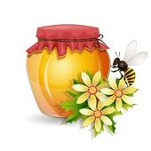 Honey jar with bee and flowers isolated on white — Stock Vector