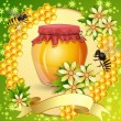 Background with honeycomb,honey jar and bees — Image vectorielle