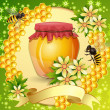 achtergrond met honingraat, pot honing en bijen — Stockvector