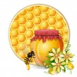 Background with honeycomb,honey jar and bees — Stock Vector #13192353