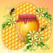 Background with honeycomb,honey jar and bees — Stock Vector #13192365