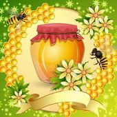 Background with honeycomb,honey jar and bees — Stock Vector