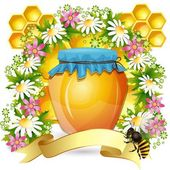 Background with honey jar bees and beautiful flowers — Stock Vector