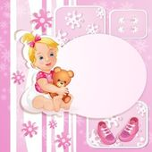 Pink baby shower card with cute little girl — Stock Vector