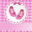 Pink baby shower card with baby girl shoes — Stock Vector #13743788