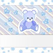 Blue baby shower card with cute teddy bear — Stock Vector