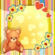 Baby shower card with cute teddy bear — Stock Vector