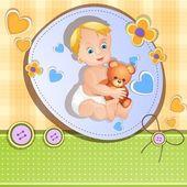 Baby-dusche-karte mit niedlichen baby-jungen — Stockvektor