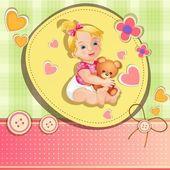婴儿洗澡卡与可爱的小女孩 — 图库矢量图片
