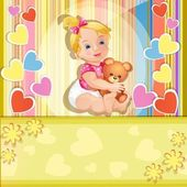 Baby shower card with cute baby girl — Stock Vector
