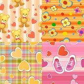 Set of 4 seamless baby background patterns — Stock Vector