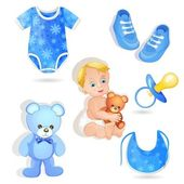 Set of elements for a baby boys — Stock Vector