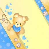 Blue baby shower card with cute teddy bear — Stock Vector