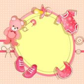 Pink baby shower card with baby girl elements — Stock Vector