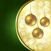 Christmas balls hanging on abstract background — Stock Vector