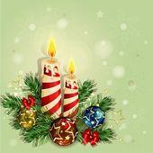 Jul bakgrund med brinnande ljus — Stockvektor
