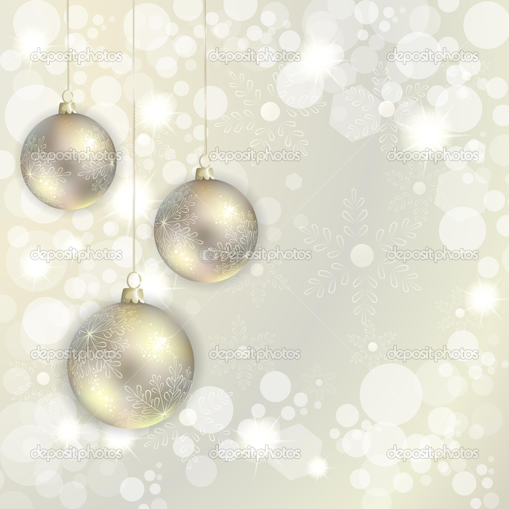 Christmas balls hanging on abstract background — Stock Vector #14699733