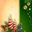 Christmas background with burning candles — Stock vektor