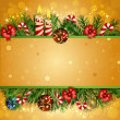 Christmas background with burning candles — Vector de stock