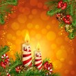 Christmas background with burning candles — Stock Vector #14999865