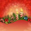 Christmas background with burning candles — Stockvektor