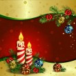 Christmas background with burning candles — 图库矢量图片