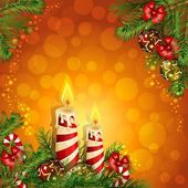 Christmas background with burning candles — Vetor de Stock